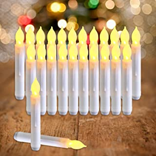 Raycare Set of 24 Flamelesss LED Taper Candles with Warm White Flickering Bulb Light, Battery Operated Floating Candles, LED Taper Candles for Themed Party, Church, Christmas Decorations