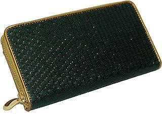 【印伝】ラウンド財布(ゴールド) 緑地黒漆麻の葉柄
