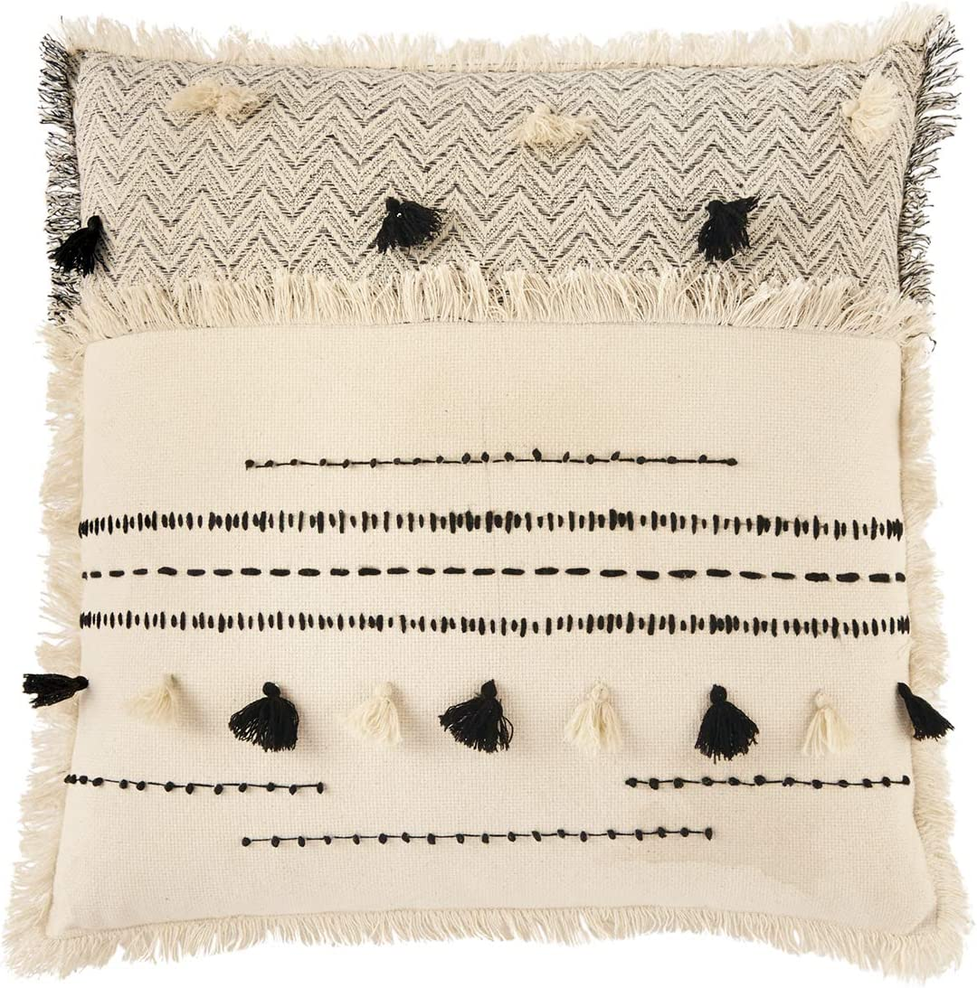 Mud Pie Woven Max 90% OFF Cotton Mail order Square Accent Tassels-20 Decora with Pillow