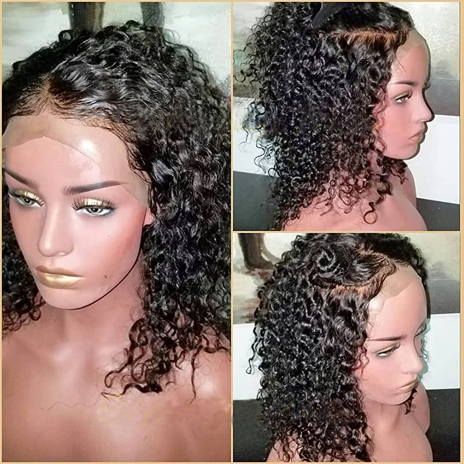 Lace Front Wigs Human Hair 130% Density Curly Hair Brazilian Virgin Hair Lace Front Human Hair Wigs with BaBy Hair Lace Front Wig Slightly Bleached Konts(12 inch, 130% Lace Front Wig)