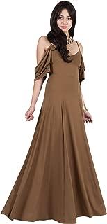 Womens Long V-Neck Short Sleeve Sexy Cold Shoulder Evening Maxi Dress