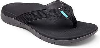 Vionic Mens Islander Toe Post Sandal - Leather Trim & Updated Tread Pattern Featuring Orthotic Technology