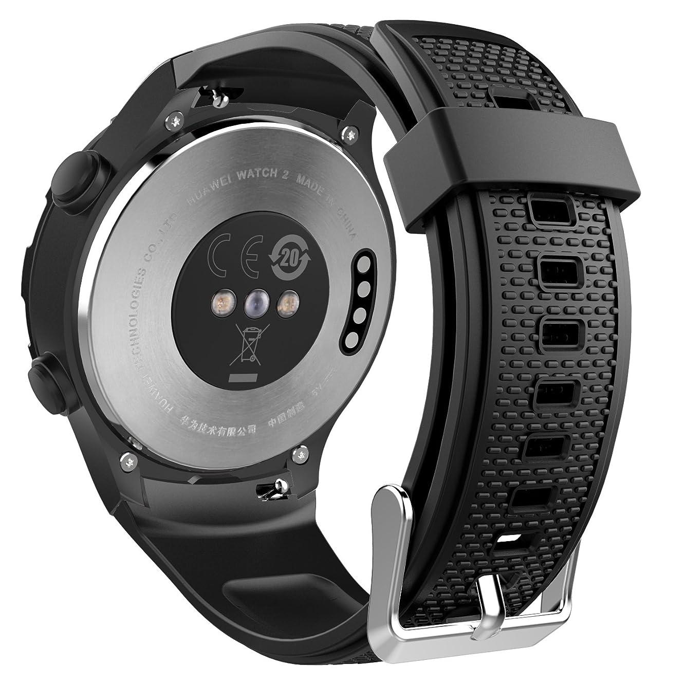 説教同様の悲観的ATiC Huawei watch2 バンド 高級シリコン製腕時計バンド 交換ベルト Black