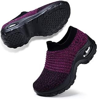 Women's Fashion Sneakers Breathable Mesh Casual Sport Shoes Comfortable Walking Shoes Black Purple 8.5