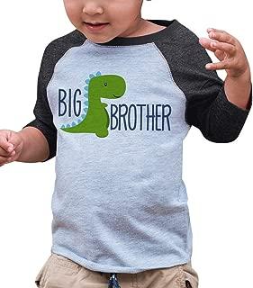 Boy's Dinosaur Big Brother Grey Baseball Tee