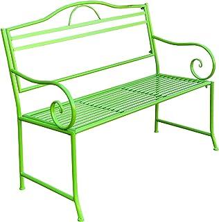 Garden Bench Seat Salsa Lime Green Steel Metal Outdoor Park Coloured 116x48x92cm