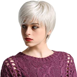 Emmor Short Silver Grey Human Hair Wigs for Women Blend Pixie Cut Wig With Bang Light Weight,Natural Daily Use Hair