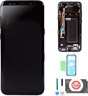 KR-NET [S-Grade] (Midnight Black) AMOLED LCD Display Touch Screen Digitizer with Frame Replacement with Adhesives for Samsung Galaxy S8+ Plus G955U G955F G955A G955P G955V G955T G955R4