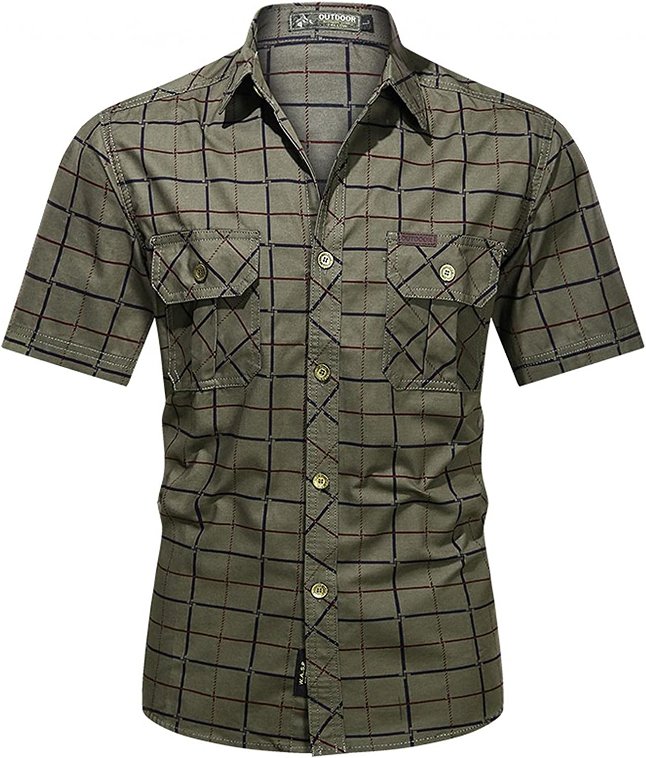 Men's Tactical Shirts Short Sleeve Button Up Camo Military Pockets Shirt Slim Fit Western Plaid Tops T Shirts