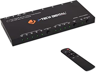 J-Tech Digital HDMI Audio Extractor Switcher 4x1 HDMI 2.0 4K@60Hz with 18Gbps, HDCP 2.2, HDR10, Analog/Digital Audio Outpu...
