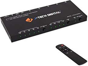 J-Tech Digital HDMI Audio Extractor Switcher 4x1 HDMI 2.0 4K@60Hz with 18Gbps, HDCP 2.2, HDR10, Analog/Digital Audio Output, Supporting CEC, ARC, with IR Remote and auto-Switching [JTECH-SWE41]