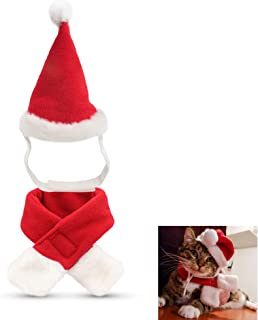 Fast and Good Cat Santa Christmas Elf Hat + Collar + 2Pcs Elf Foot Straps, Head Wear Accesories Christmas Costume Green El...