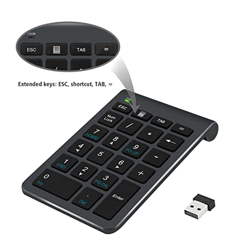 2.4G Number Pad, Alcey Wireless 22 Keys Multi-Function Numeric Keypad Keyboard with