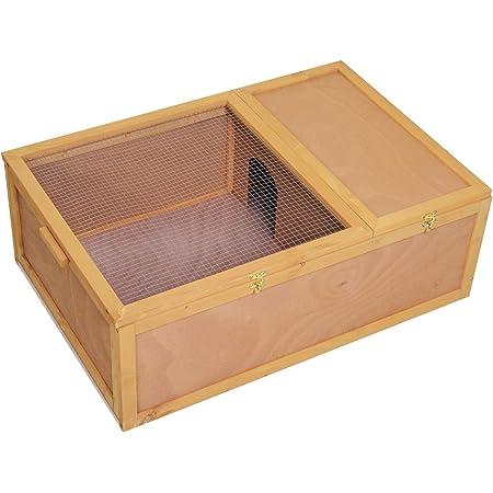 Pawhut 37 X 25 X 13 Madera Tortuga Casa Terrario Pequeño Recinto Reitile Con Diseño De Dos Habitaciones Natural Mascotas