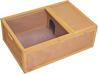"PawHut 37""L Wood Tortoise House Turtle Habitat, Indoor Tortoises Enclosure for Small Animals, Outdoor Reptile Cage"