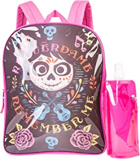 Coco Backpack Combo Set - Disney Coco Girls' 3 Piece Backpack Set - Backpack, Waterbottle and Carabina (Black/Pink)
