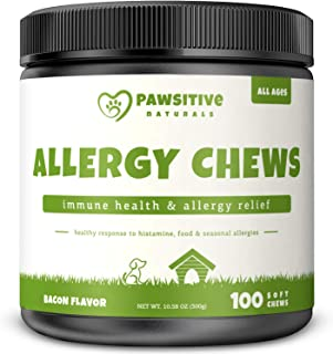 Allergy Immune Supplement for Dogs - 100 Soft Chew Bites - Omega 3 Salmon Fish Oil, Colostrum, Digestive Prebiotics & Probiotics for Seasonal Allergies, Immunity, Anti Itch & Skin Hot Spots