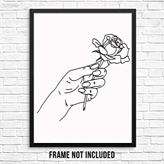 hand holding rose drawing