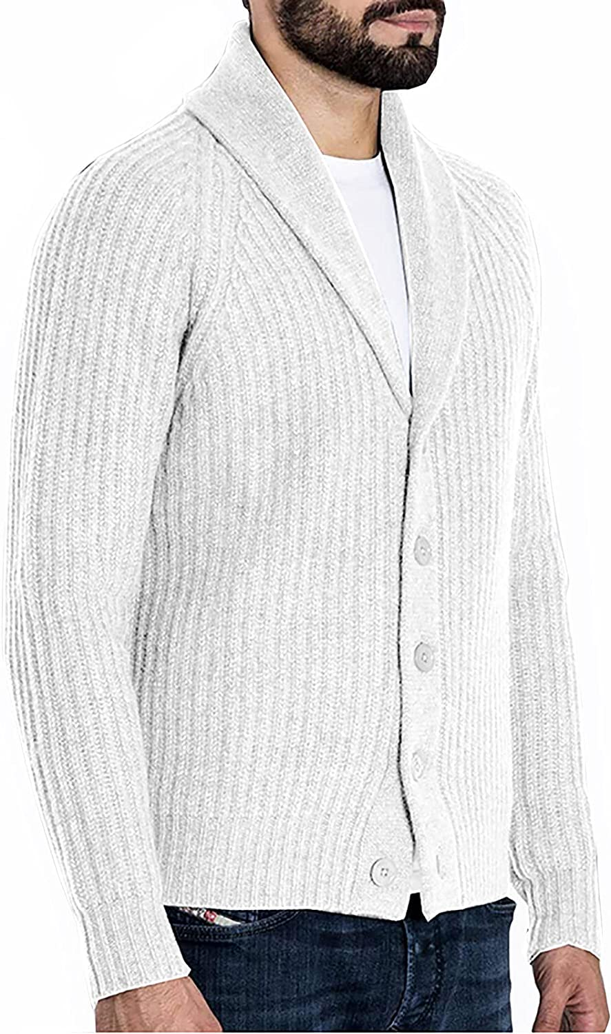Men's Knitted Suit Sweater Fashion England Style Lapel Solid Button Long Sleeve Thermal Cardigan Coat Jacket