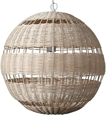 """Amazon Brand – Stone & Beam Traditional Woven Globe Pendant Light with White Cloth Cord, 18""""H, Natural Willow"""