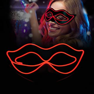 iChase Halloween Party Half face Mask ,EL Wire Glowing Halloween Cosplay Led Mask Light Up Cool Mask with 4 Modes for Christmas Birthday Party Gift Any Festival Parties (Red)