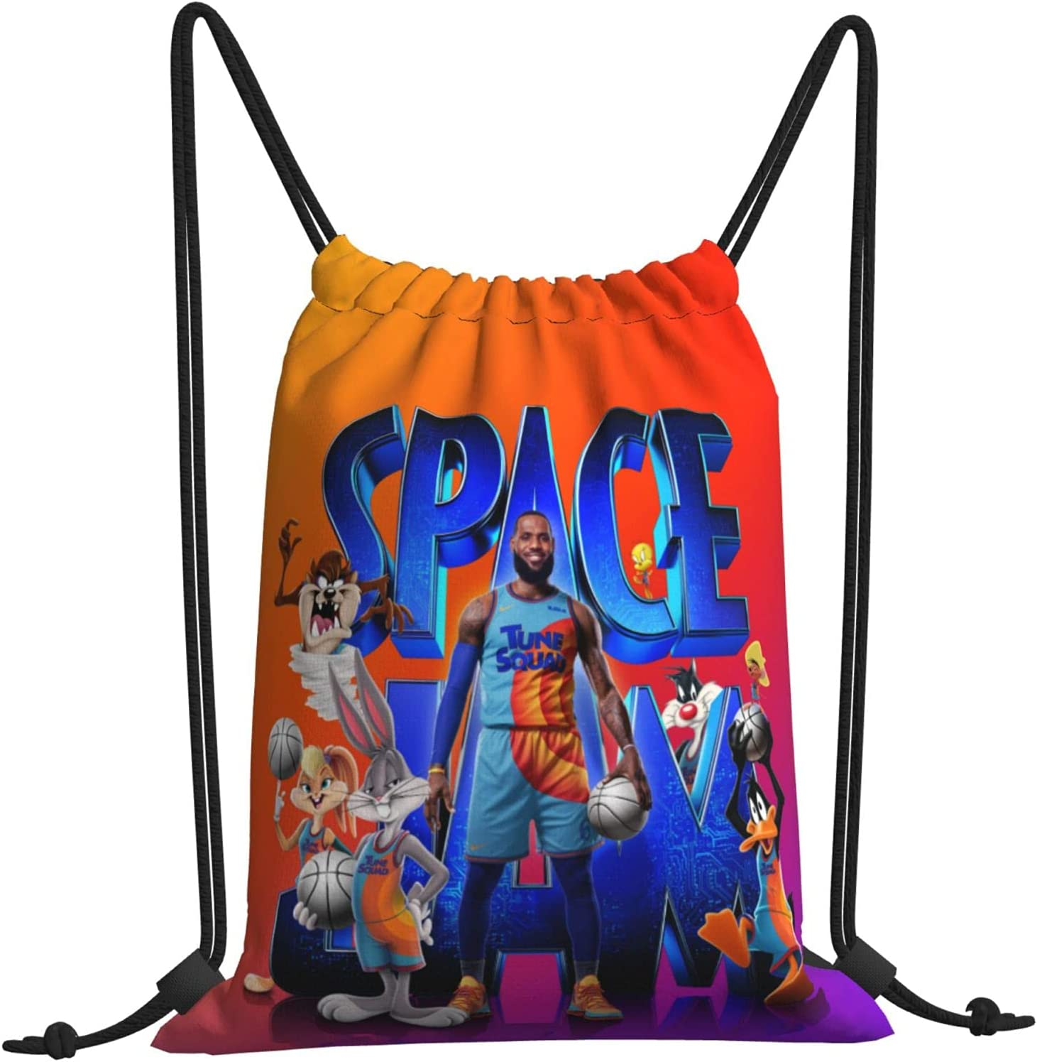Weekly update Space Jam Drawstring Backpack Print Bag Sackpack Re Courier shipping free Cinch String