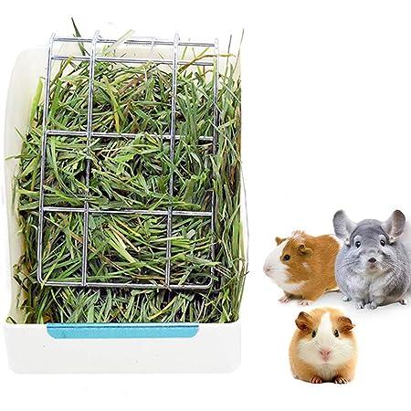Rabbit Feeder Bunny Guinea Pig Hay Feeder, Hay Guinea Pig Hay Feeder, Chinchilla Plastic Food Bowl (White)