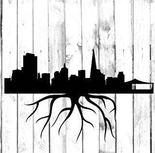 San Francisco Skyline Wall Decals Decor - USA City State Roots Rooted Art Stickers Decorations - Vinyl Pictures for Office Studio Shop Home Kids Room Bedroom Door Window RT054