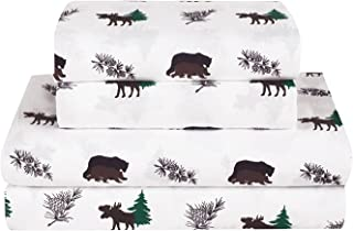 HowPlumb Rustic Bear Moose Twin Size 3 Piece Sheet Set Microfiber Cabin Hunting Lodge Wildlife