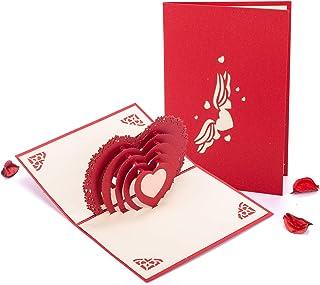 Tarjeta 3D, HOMEWINS Tarjeta de Felicitación Forma de Corazon Romántico Matrimonio Cumpleaños Papel Kraft Hecho a Mano Sobre Incluido Regalo de San Valentin