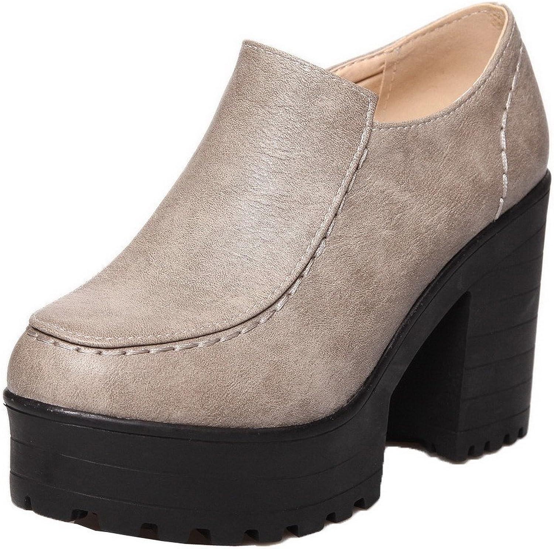 AmoonyFashion Women's Zipper PU Round Closed Toe High-Heels Solid Pumps-shoes