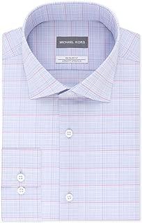 Mens Dress Shirt Plaid Print Slim Fit Blue 15
