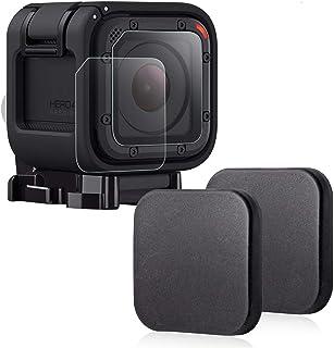 Protector de lente para GoPro Hero 4 Session 5 SessionHapurs Cubierta de la lente de la cámara (2 piezas) y Protector de cristal de la lente (2 piezas) para GoPro Hero 4 Session 5 Session