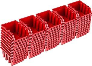 Pafen NP4 - Juego de cajas apilables (50 unidades), color rojo