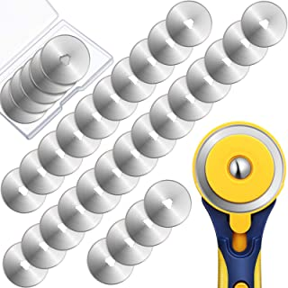 36 Packs Rotary Cutter Blades Replacement Blades Compatible with Fiskars Olfa Martelli Truecut Cutter for Patchwork Leathe...
