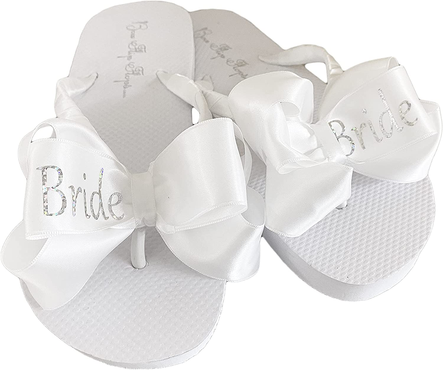 online shopping Silver Glitter Bride Bows Cheap mail order specialty store on White Flat Flops Flip Wedding