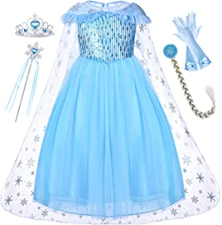 Princess Elsa Dress with Cloak Tiara Wand Wig Gloves for Age 2-8 Years Girls Party