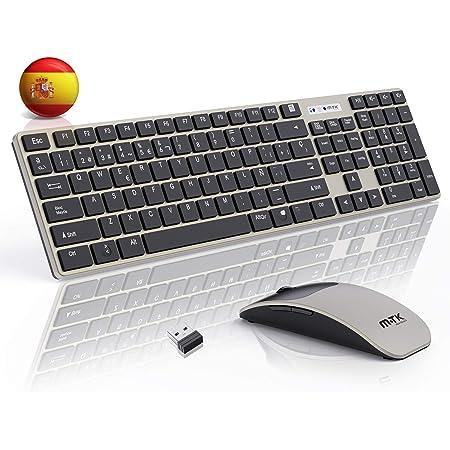 MTK Packs de teclado y ratón,Teclado y Raton Inalambrico ,2.4Ghz Delgados Portátil Teclado Inalambrico,104 Teclas,tamaño Completo,12 Teclas ...