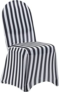 Your Chair Covers - 6 Pack Stretch Spandex Chair Covers Striped - Black and White, Wedding Slip Covers, Premium Quality Chair Cover