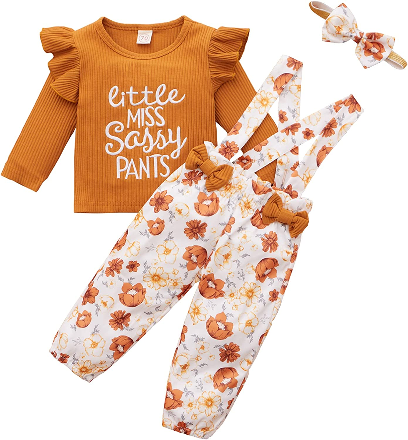 Toddler Baby Girl Floral Outfits Ruffle Sleeve Ribbed T-Shirt and Suspender Pants with Headband Clothes Set