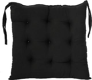 وسادة كرسي مزخرفة من القماش القطني من كوبر اندستريز/ دعم خلفي/ وسادة مقعد وأربطة وخياطة يدوية الصنع، 14انش × 14انش (اسود)