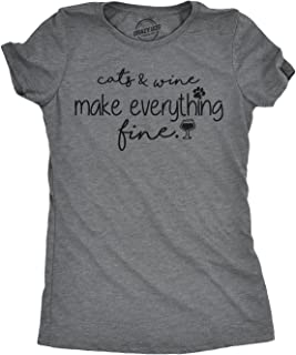 Womens Cats and Wine Make Everything Fine Tshirt Funny Cat Lady Tee for Ladies