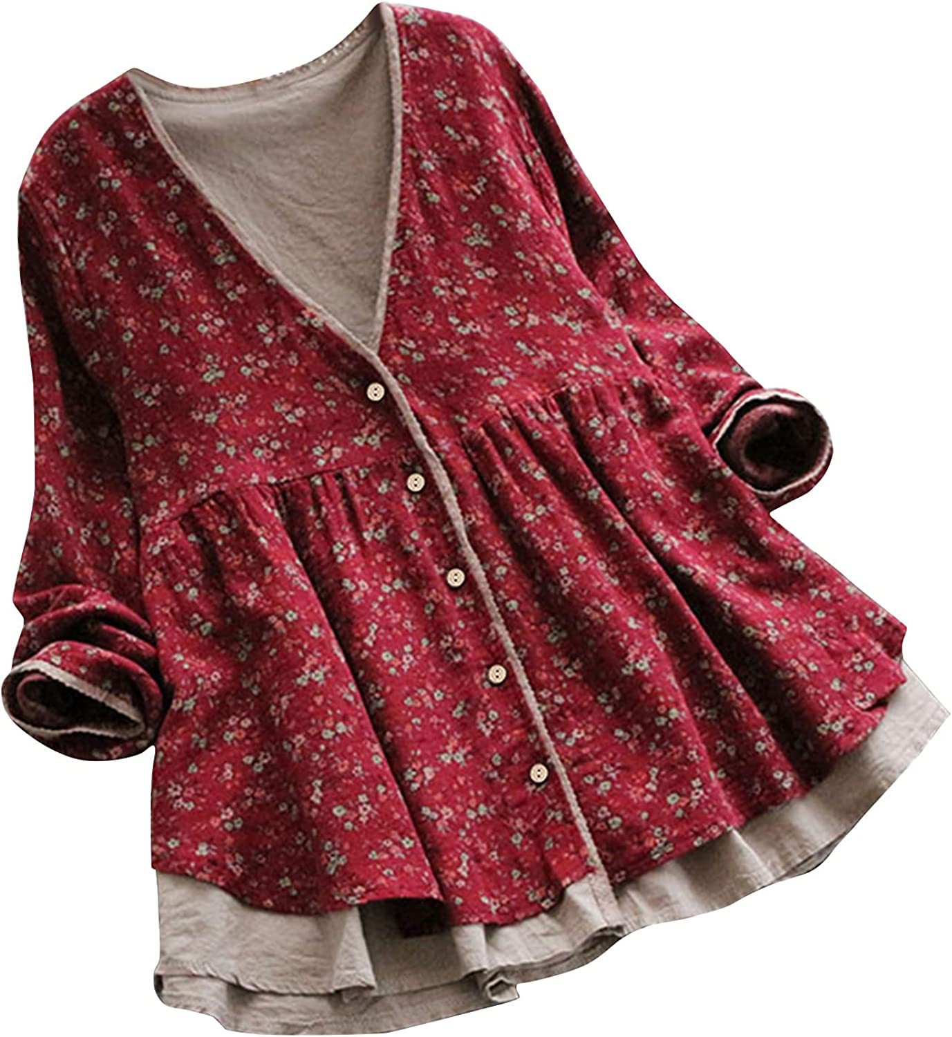 VonVonCo Fashion Tops for Women Casual Summer Cotton Linen Shirt Long Sleeve Loose Casual Top Cardigan