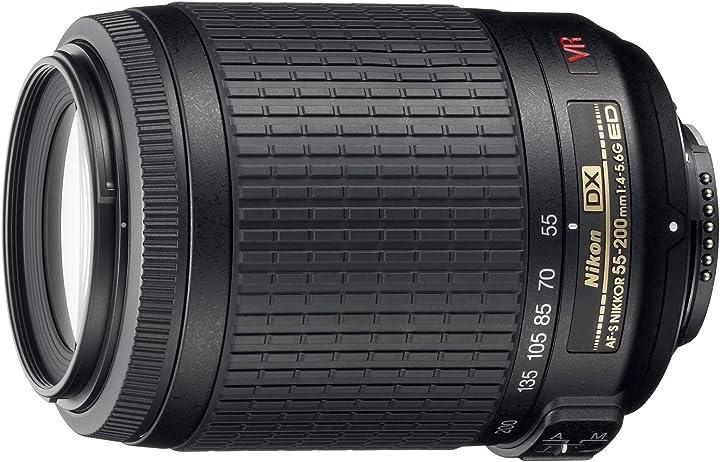 Obiettivo nikon jaa798da 55-200mm f/4-5.6 af-s vr dx - lenti nere confezione originale 2166B