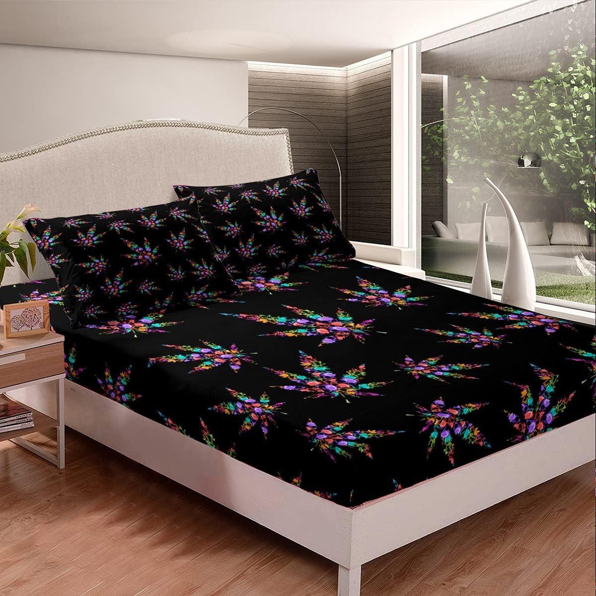 Juego de sábanas bajeras de marihuana con diseño de calavera gótica y colorido para hombres, adolescentes, mujeres, hipie, hojas de cannabis, juego de cama Trippy botanical de 3 piezas, color negro