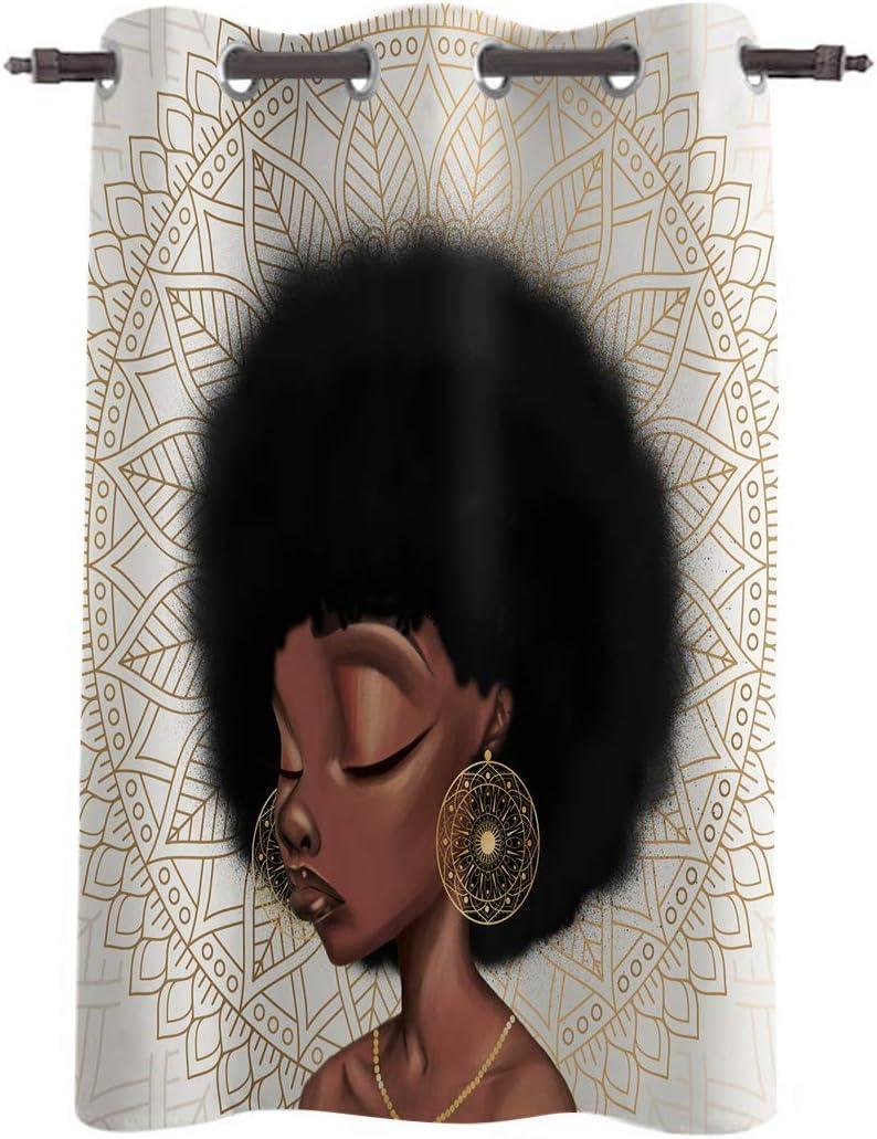 USOPHIA Room Darkening Window 高額売筋 Curtains American African Girl wit 在庫一掃