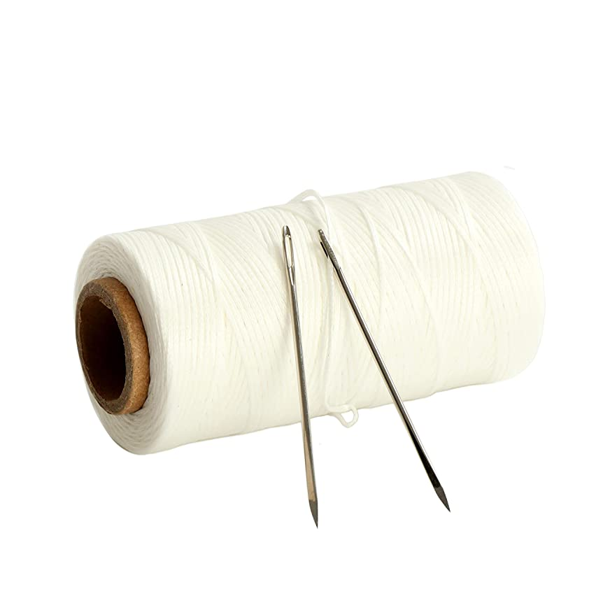 120 Meters 300D 1.2mm Sewing Waxed Thread with 2 Needles Leather Craft Hand Stitching Waxed Thread Cords AWL Shoes Bags Repair (White)
