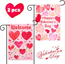 GROBRO7 Happy Valentine's Day Heart Flag House Garden Decorative Flag Welcome Home Flag, Double-Sided Festival Flag with Love Hearts for Outdoor Party Decor