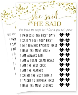 Abstract Bridal Shower He or She Said Game - Pack of 25