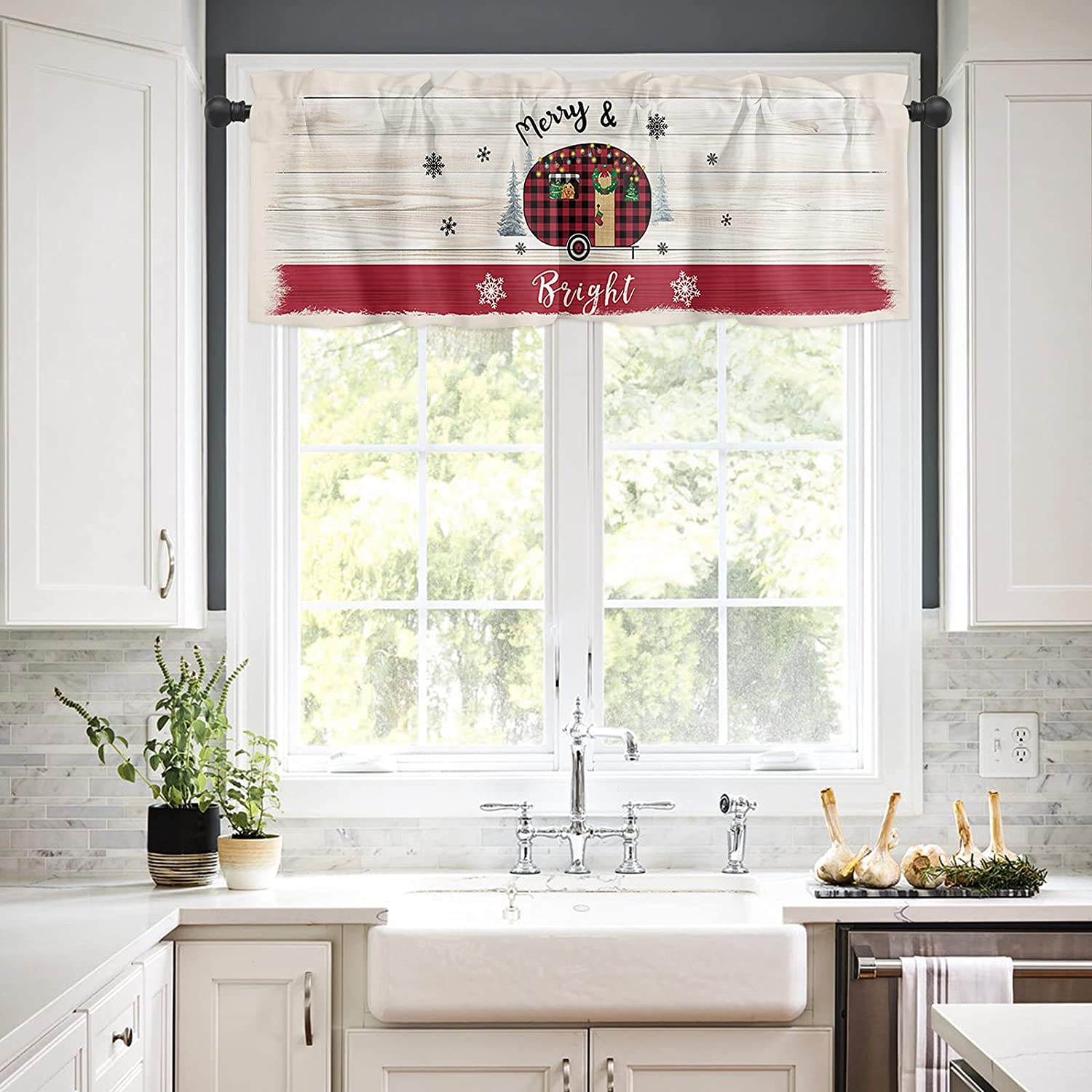 Rod Pocket Window Valances Curtains Super beauty product restock quality top Kitchen for Christmas Merry Cheap SALE Start